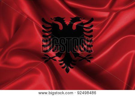 Wavy Flag Of Albania.