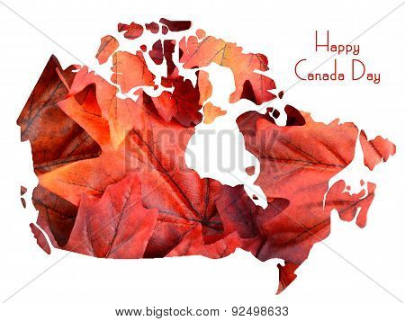 Red Maple Leaves In Shape Of Canada Map