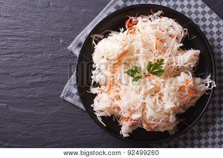Homemade Sauerkraut With Carrot Horizontal Top View