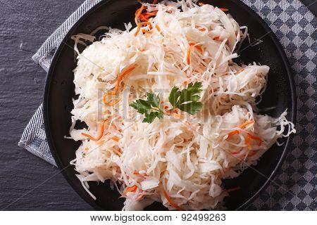 Homemade Sauerkraut With Carrot Close-up Horizontal Top View