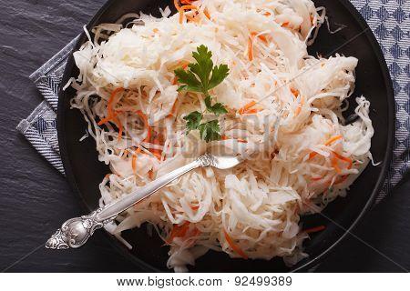 Fresh Sauerkraut In A Plate Close-up Horizontal Top View