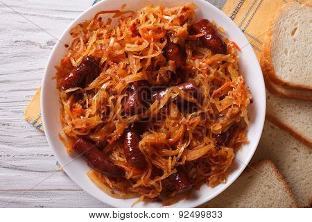 Stewed Cabbage With Sausages Close-up Horizontal Top View