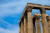 stock photo of akropolis  - Temple of the Olympian Zeus and the Acropolis in Athens - JPG