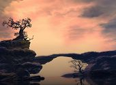 pic of surrealism  - 3D illustration of landscape with surreal aspect with several rock formations where it is observed a big tree on a rock reflecting a quiet water - JPG