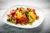 image of semi  - green yellow and red semi dried tomatoes - JPG