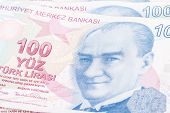 foto of turkish lira  - Close up view of one hundred Turkish lira banknote macro view - JPG