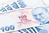 picture of turkish lira  - Close up view of one hundred Turkish lira banknotes - JPG