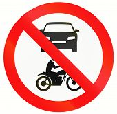 stock photo of motor vehicles  - Indonesia sign prohibiting thoroughfare for all motor vehicles - JPG
