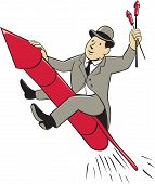 stock photo of bowler hat  - Illustration of a man in a suit wearing bowler hat holding fireworks riding fireworks rocket set on isolated white background done in cartoon style - JPG