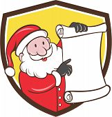 image of nicholas  - Illustration of santa claus saint nicholas father christmas smiling holding paper scroll pointing to the list set inside shield crest on isolated background done in cartoon style - JPG