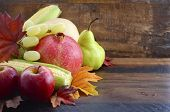picture of butternut  - Autumn Fruit and Vegetable Background with fresh butternut pumpkin grapes leaves apples pear pomegranate and corn with copy space for your text here - JPG