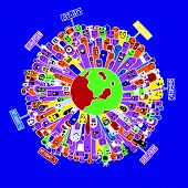 picture of continent  - Vector illustration of Monsters Population with continents of Our World  - JPG