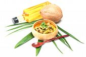 image of thai cuisine  - Green pork Curry and Coconut - JPG