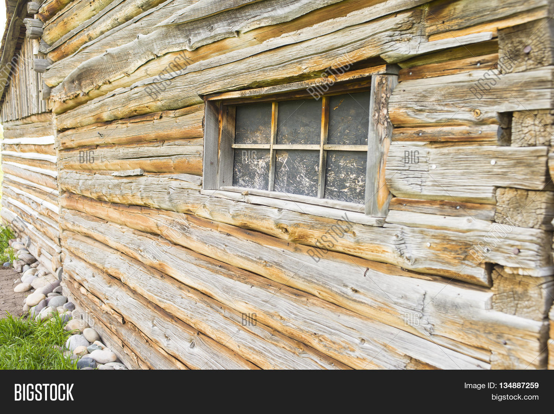 Log built barn cabin lodge pine image photo bigstock for Log pole barn