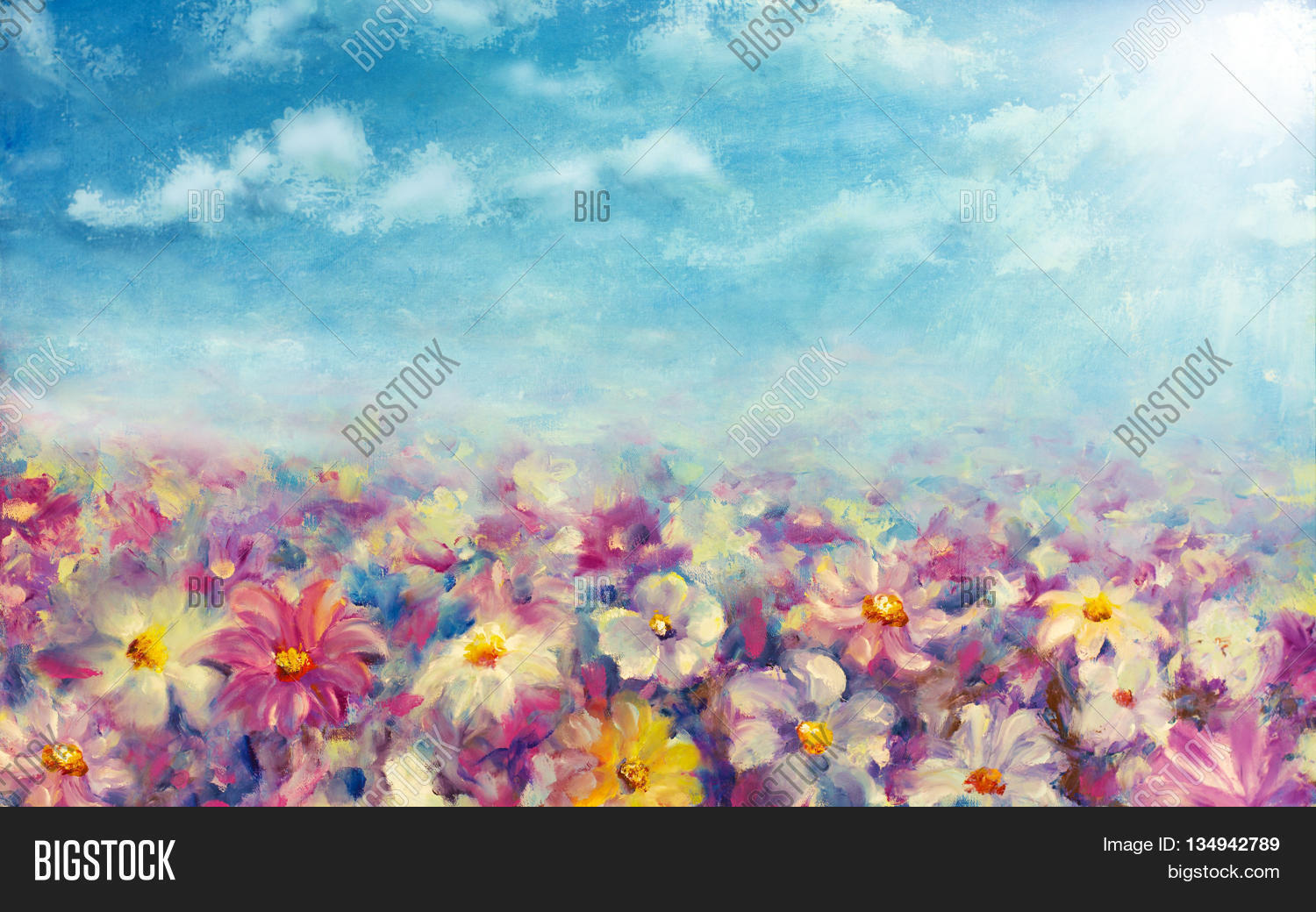 Flowers Field At Sunrise Flower Oil Painting Background Landscape Of Multicolored Impressionist