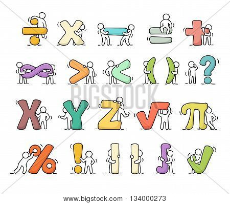 Cartoon icons set of sketch working little people with mathematical symbols. Doodle cute miniature scenes of workers with algebra signs. Hand drawn vector illustration for school design and infographic.