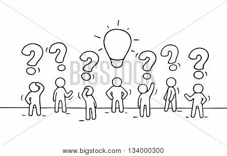 Sketch - crowd of working little people with question sings and lamp idea. Doodle cute miniature teamwork find right decision. Hand drawn cartoon vector illustration for business design.