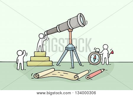 Sketch of working little people with spyglass teamwork. Doodle cute miniature scene of workers discovery something . Hand drawn cartoon vector illustration for business design and infographic.