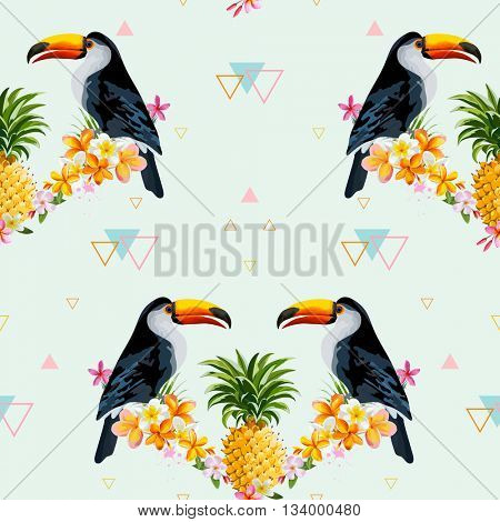 Geometric Pineapple and Toucan Background. Tropical Bird. Seamless Pattern. Vector Background. Tropical Texture.