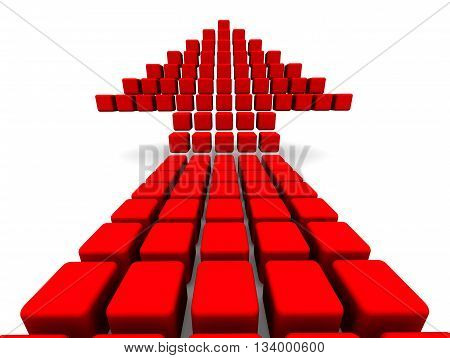 Arrow symbol from cubes. Red arrow symbol from cubes upward. Isolated. 3D Illustration