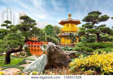 Golden Pavilion of Perfection in Nan Lian Garden, Hong Kong, China