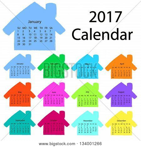 2017 calendar template in the form of colorful hand-drawn houses. First day Sunday. Illustration in vector format. can be used for the rector's and construction companies