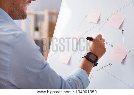 Do with positivity. Cheerful handsome bearded man standing near the board and making notes on it while working in the office
