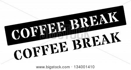 Coffee Break Black Rubber Stamp On White