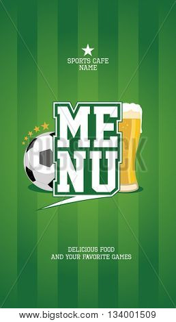 Sports menu card design mock up with football ball and beer