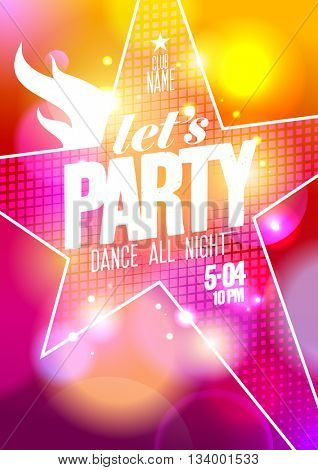 Let`s party summer design with big star on a bokeh background