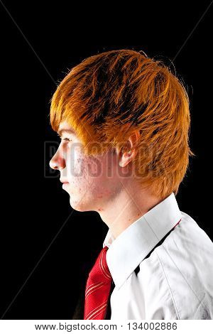 portrait of young boy with red hair with tie