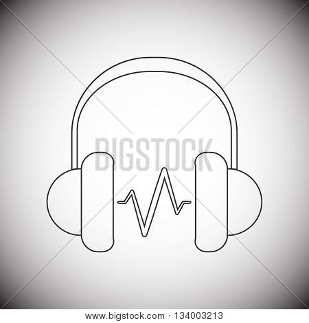 Modern style headphone line icon with grey gradient background