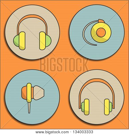 Vector headphone icon set. Headphone icons drawn in flat design style.