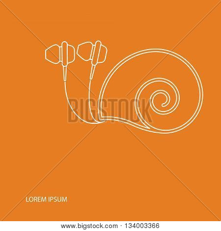 Vector headphone drawn looks like a snail with text