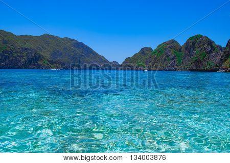 Tropical sea bay and mountain islands El Nido Palawan Philippines