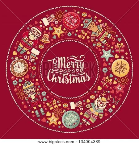 for greeting card. Merry Christmas wreath with Christmas toys. Christmas and New Year background. Balls, Santa Claus. Nutcracker, Snowman, socks, gift box. Christmas tree, clock, Reindeer. Colorful round frame for greeting card in the winter holiday.