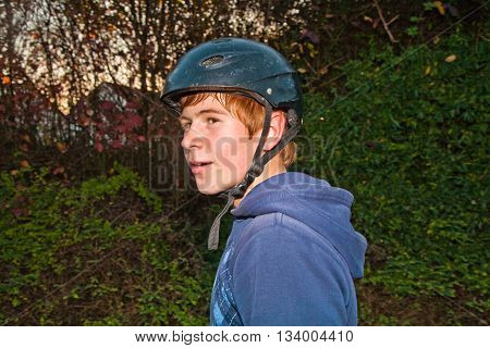 Boy Is Happy And Relaxed From Bmx Biking