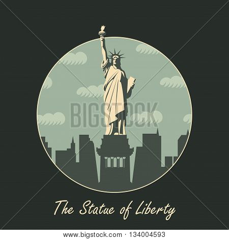banner with statue in background of New York