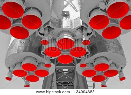 Engine and red nozzles of space rocket