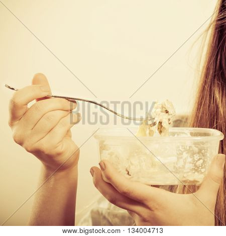 Closeup Of Human Eating Fresh Vegetable Salad.
