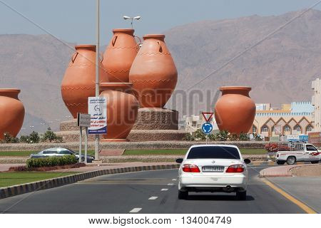 DIBBA, United Arab Emirates (UAE), 6 APRIL 2016. Photograph of Pot Roundabout in Dibba, one of a series of interesting traffic roundabouts on the UAE side of the small border town of Dibba.