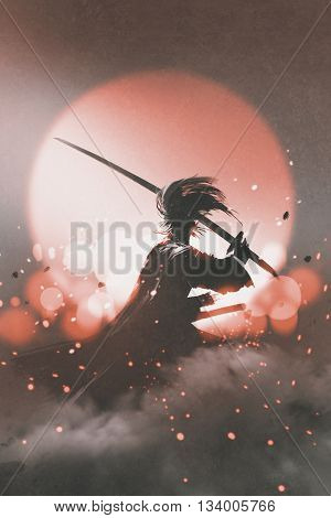 samurai with sword standing on sunset background, illustration painting