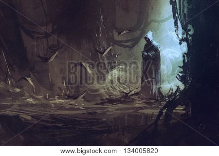 dark cloak in mysterious forest, wizard, sorcerer, illustration