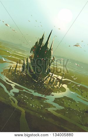 aerial view of a futuristic citysci fi scenery, illustration painting
