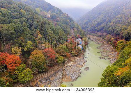 Beautiful Fall Landscape Around Kyoto