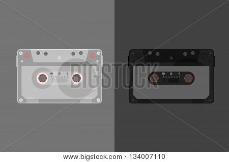Retro Audio cassette. Modern flat style vector illustration. Posters postcards greeting cards banners packaging headers template.