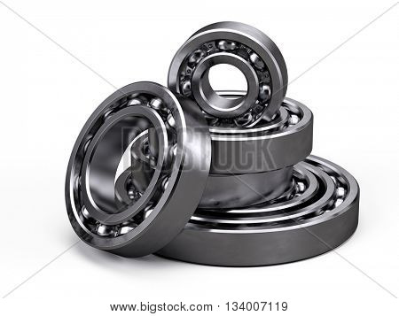 Ball bearings isolated on white. 3d render