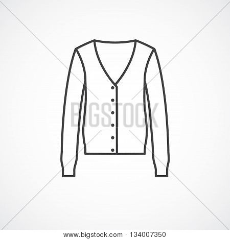 Cardigan icon. Vector line icon isolated on white background