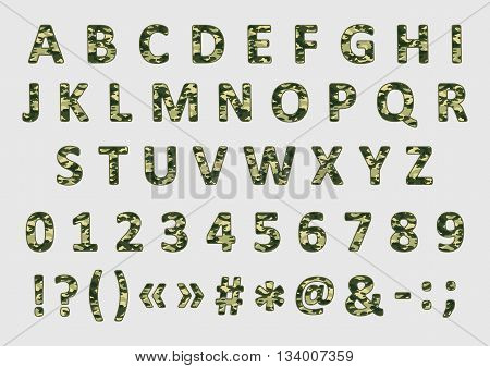Military army font with camouflage pattern vector