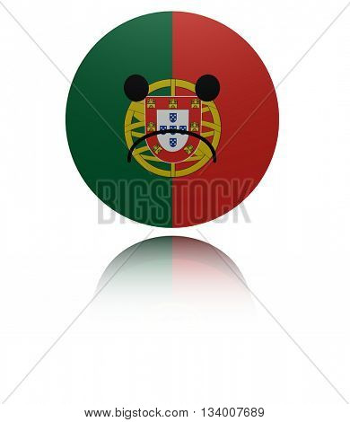 Portugal sad icon with reflection 3d illustration